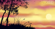 Vector background of evening landscape