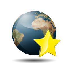 Icono planeta tierra 3D con simbolo favorito