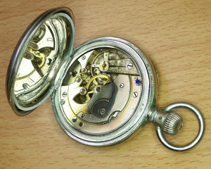 old pocket watch mechanism closeup