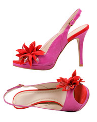 Pair of pink female open-toe shoes over white