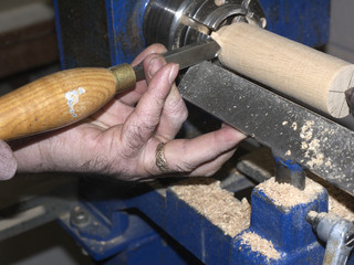 Craftsman turning wood on Lathe in Lancashire