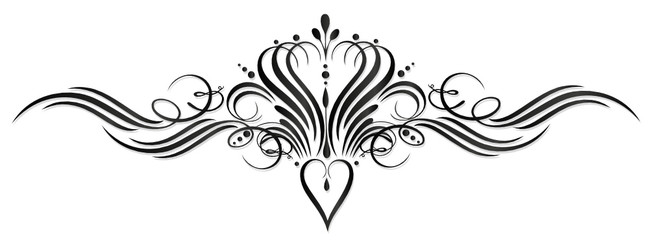 Kalligraphie, Herz, Krone, Ranke, vintage, black art