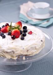 Homemade cake with fresh berries