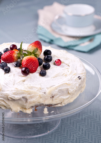 Homemade cake with fresh berries