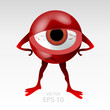 Tired and upset red 3D styled eyeball