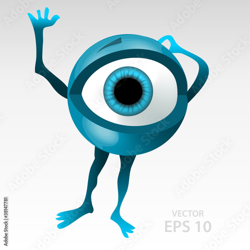 Frightened 3D styled bleu eyeball mascotte