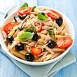 Pasta salad with cherry tomatoes and tuna