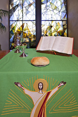 An altar set for Communion