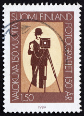 Postage stamp Finland 1989 Photographer and box camera