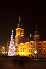Christmas tree in Warsaw old town