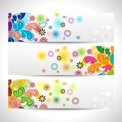 Banners floral with birds