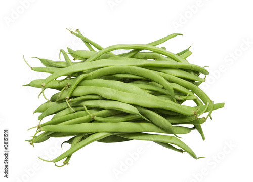fresh green flat beans on a white background