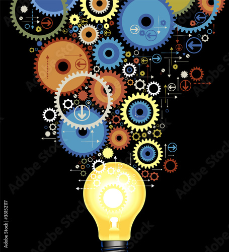background gears with lamp