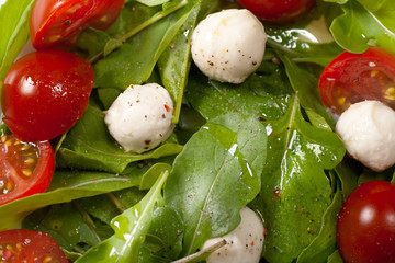 Mozzarella with greens background