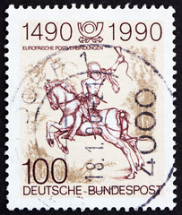 Postage stamp Germany 1990 The Young Post Rider, an Engraving by