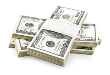 pile of packed dollars money isolated on white background