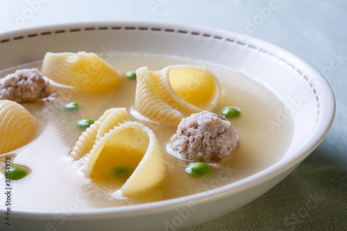Catalan cuisine. Soup with meat of the pot