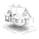 house with plan_wireframe - 38155333