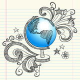 Planet Earth Globe Geography Class Doodle poster