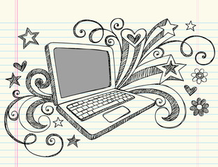Business Laptop Computer Sketchy Doodles