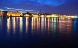 View of Neva river at night poster