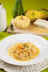 Rice with pumpkin and cheese