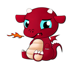 baby red fire dragon isolated on white