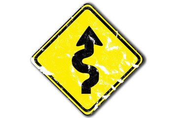 grunge left winding road arrow traffic sign from paper craft