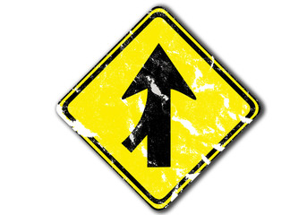 grunge arrow traffic sign lanes merging left from paper craft