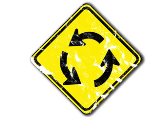 grunge traffic circle arrow sign from paper craft