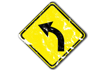 grunge yellow traffic sign, left curved warning from paper craft