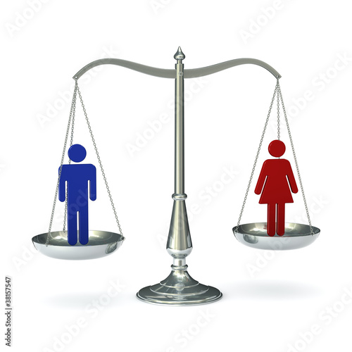scales with man and woman figures