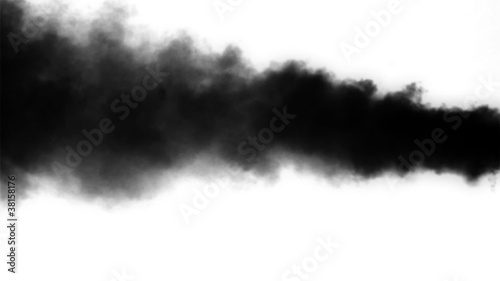 Thick black smoke on the white  background