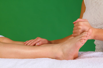Physiotherapy or reflexology on leg and foot area