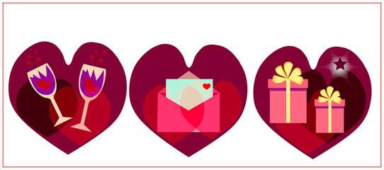valentines symbols on the white background