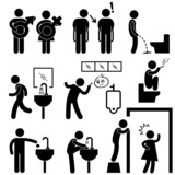 Funny Public Toilet Concept Icon Symbol Sign Pictogram
