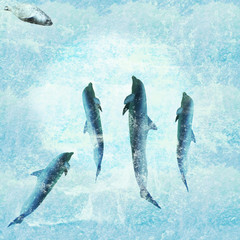 Aquatic background with dolphins dancing and a seal joining them