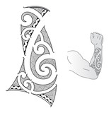 Maori style tattoo design fits for a forearm.