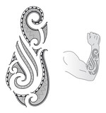 Maori tattoo design fits to a forearm