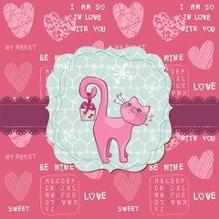 Cute Love Card with Cat - for valentine's day, greetings, scrapb