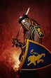 Medieval knight on abstract background.