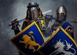 Medieval knights on grey background.