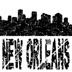 Grunge New Orleans skyline with text illustration