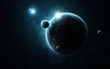 Young planet system in far deep space, concept