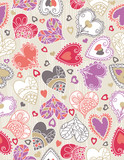 wrapping paper with  hearts, vector