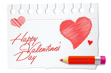 Vector paper with red pencil and valentines wish