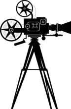 Caméra de cinéma vintage, illustration vectorielle