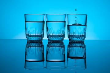 Three glass of vodka