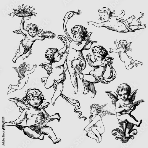 set of various angels or cupids