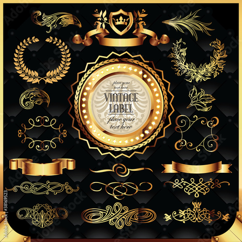 vector set of golden labels and page decoration elements